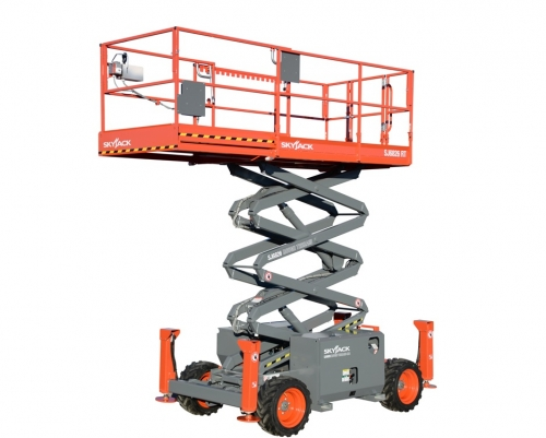 Skyjack Rough Terrain Scissor Lift on fire alarm horn strobe lights